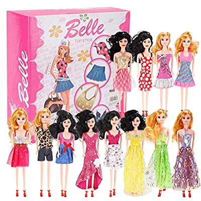 Liberty Imports Set of 12 Fashion Beauty Dolls with Dresses in Individual Display Boxes
