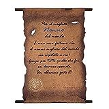 Pergamena con messaggio dedicato al nonno