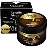 Masque Capillaire Professionnel VISAGE Huile d'argan et Pure Keratin | Masque cheveux secs et abimés | Hydratant et Nourrissant | Hair Mask for Damaged and Dry Hair | Produit Premium 500ml