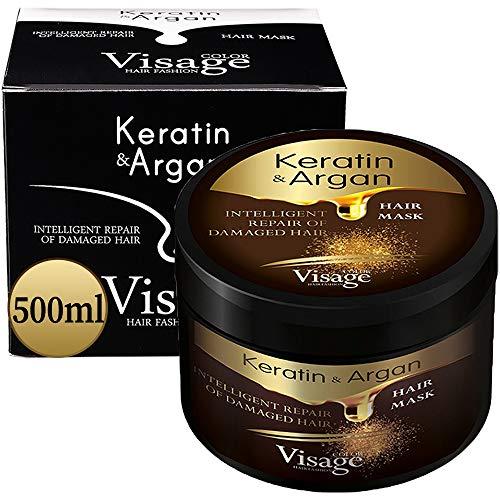 VISAGE Maschera Capelli Professionale Olio di Argan e Cheratina | Maschera Ristrutturante e Nutriente Capelli | Keratina per Capelli Trattamento | Hair mask Keratin & Argan | Prodotto Premium 500ml