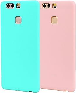Funda HuaWei P9, 2Unidades Carcasa HuaWei P9 Silicona Gel, OUJD Mate Case Ultra Delgado TPU Goma Flexible Cover para HuaWei P9 - Cielo azul + rosa