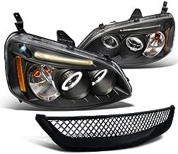 01-03 HONDA CIVIC LED HEADLIGHTS+MESH GRILL GRILLE BLK