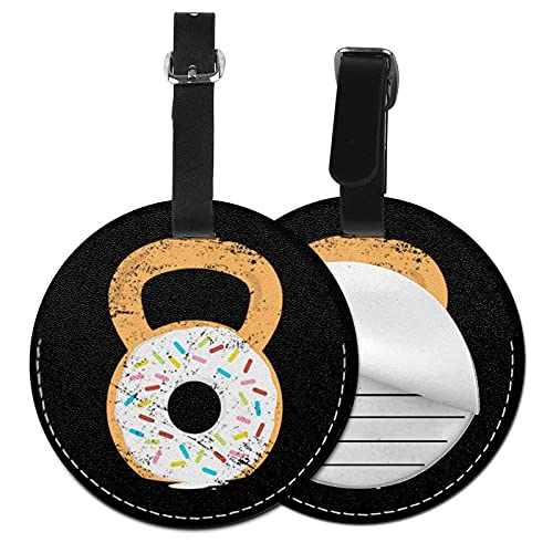 DJNGN Etiqueta de equipaje Kettlebell Donut Workout Fitness, Pu Bolso de cuero Maletas de viaje Identificador de identificación Etiqueta de equipaje para mujeres Hombres Niños Niñas