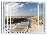 LuxHomeDecor - Cuadro para ventana de playa de 100 x 75 cm, impresión sobre lienzo con marco de madera, decoración artística moderna