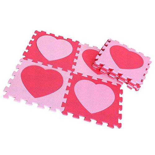 P Prettyia Puzzlematte Spielmatte Bunt 9-tlg. Spielteppich Schaumstoff Puzzle Kinderteppich für Baby Puzzleteppich Steckmatte Spielteppich Krabbelmatte Turnmatte - Liebe rosa rot