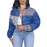 PDYLZWZY Chaqueta corta con cuello alto para mujer, con estampado de cachemira, con cremallera corta, azul, XXL