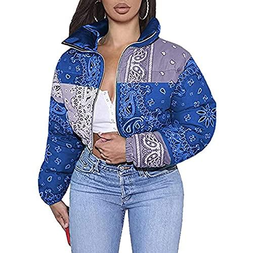 PDYLZWZY Chaqueta corta con cuello alto para mujer, con estampado de cachemira, con cremallera corta, azul, S