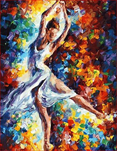 XQRDC Pintar por Numeros Adultos Bailarina Pintada Lienzo de Bricolaje Regalo de Pintura Al Óleo con Pinceles y Pinturas Decoración del Hogar - 40X50CM (Sin Marco)