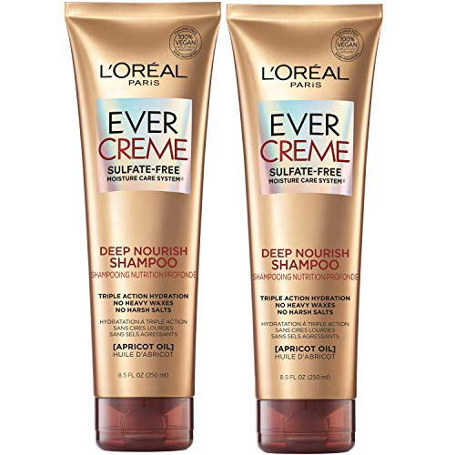 L'Oreal Paris EverCreme Deep Nourish Sulfate Free Shampoo, with Apricot Oil, 8.5 Fl. Oz (Pack of 2) (Packaging May Vary)