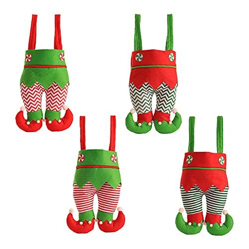 BELUAPI Juego de 4 suéteres hechos a mano para botellas de vino, de Navidad con diseño de elfos, para botellas de vino, para servir como bolsas de dulces, soportes para botellas de vino tinto
