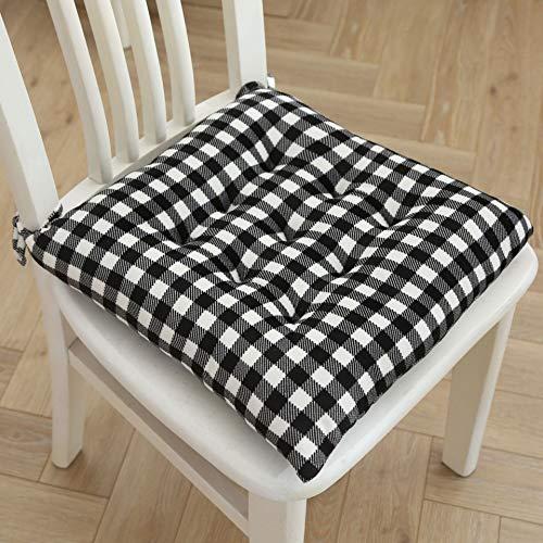 ENERGMiX Crystal Velvet Plaid Cushion Home Furnishing Fabric Chair Cushion Nipples Comfortable Cushion Thicken Ground Cushion 40 * 40cm Black and white grid