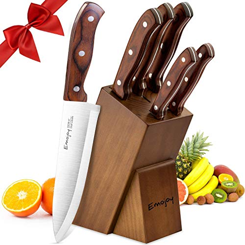 Emojoy Couteaux de Cuisines Professionnels, Ensemble de Couteaux, 6 Pièces Set Couteaux Cuisine en Acier Inoxydable, Bloc de Couteaux avec Support en Bois