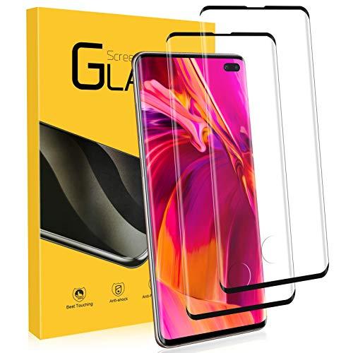 NONZERS Verre Trempé pour Samsung Galaxy S10 Plus, [2 Pack] 9H Dureté, [Compatible Lecteur d'empreinte] 3D Incurvé Couverture Complète Protecteur d'Écran en Verre Trempé, Vitre pour Samsung S10 Plus