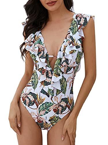 heekpek Trajes de Baño una Pieza Bikini Volantes Sexy Cuello en V Bañadores de Mujer...