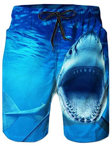 Loveternal Hawaii Badehose 3D Kurz Bunt Hosen Schnelltrocknend Sommer Hai Badeshorts für Männer Blau M