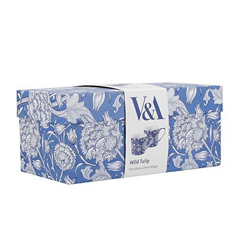 V&A Wild Tulip Mugs in Gift Box, Fine Bone China, Blue / White, 300 ml, Set of 2