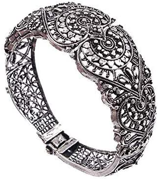 Vagmi Jaipur Kadaa for Women (Silver), Adjustable Bangle for Girls or Womenn, Adjustable Bracelet for Women