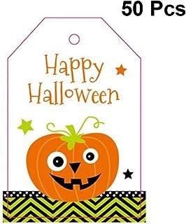 Hemoton 50pcs Halloween Greeting Cards Assortment Hanging Cards Cartoon Pumpkin Vertical Greeting Gift Cards