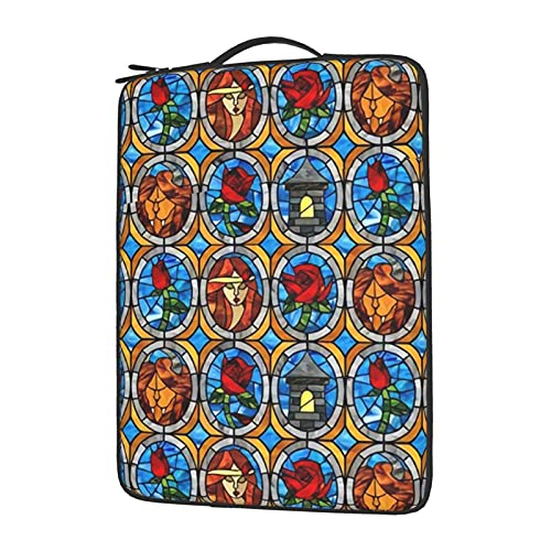 13-15.6' Laptop Sleeve Case Bag Beauty and Beast Fairytale Glass Upgraded Protective Shockproof Cover Bag Compatible with 13' MacBook Pro and MacBook Air