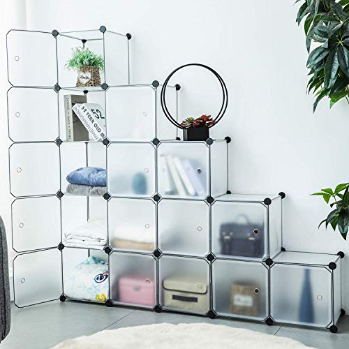 U-Kiss DIY Regalsystem Türen, Kleiderschrank Kunststoff, Kombischrank, Aufbewahrung Cube, Modularer Schrank für Kleidung, Schuhen Spielzeug und Büchern… (Weiß -12 Würfel & 2 Behang)