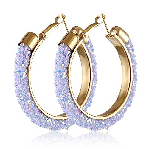 TYUTYU Pendientes Moda Gold Alloy Shine Hoop para Mujeres Geométrico Sexy Pendientes Grandes Pendientes Estilo Pendientes Regalos de Joyería (Metal Color : IPA0108-2)