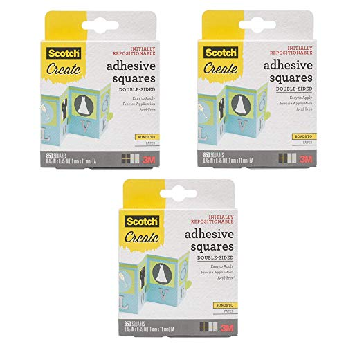 3M Scotch Create Squares (Double-Sided), 0.45-Inch-by-0.45-Inch - 009-850 - 3 Pack