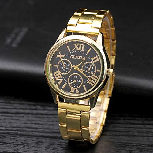 YZQFFY Uhr Einfache Damenmode 3 Augen Quarzuhren Lässige Edelstahl Goldkleid Armbanduhr