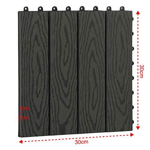 EUGAD WPC Premium Terrassenfliesen Bodenfliese Klickfliese Holzoptik, Terrassendielen Fliese Bodenbelag mit klicksystem, 22 Stück 30x30 cm = je 2 m² Anthrazit - 5