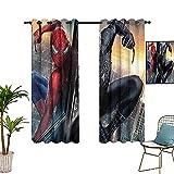 Cortinas perforadas Superhéroe Red Spider_man y Black Spider_man Action Art Póster ajustable 213 x 137 cm