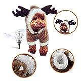 RC GearPro Cute Pet Dog Christmas Elk Costume Puppy Hoodie Coat Ropa para Perros Gatos Soft Coral Velvet Fleece Apparel (M)