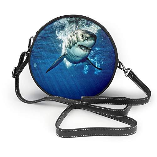 Great White Shark - Cartera redonda de piel suave para mujer, diseño de círculos