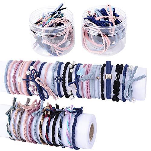 48 stk Haargummis in verschiedene Farben und Stilen Haargummi für Damen Mädchen Haarschmuck Gummiband haare Gummibänder