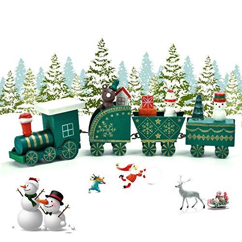 EKKONG Mini Train en Bois,Deco Noel Train Noël Décorations,décoration de Noel,Caravane Miniature Christmas Decorations,Mini Figurine décoration intérieure Maison (Vert)