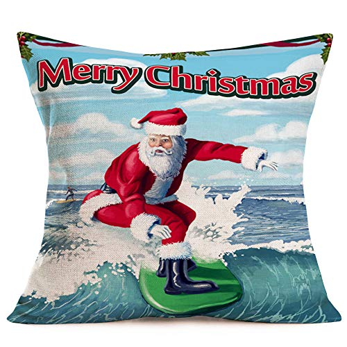 Fukeen Marine Christmas Throw Pillow Cases SantaClaus with Surfing Ocean Sea Decor Pillow Covers Cotton Linen 18x18 Inch Xmas Mistletoe Leaves for Home Outdoor Beach Decorative Pillowcase
