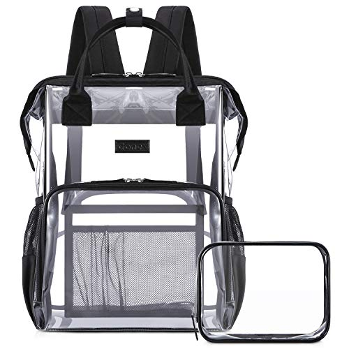Gonex Heavy Duty Clear Transparent Backpack with Cosmetic Bag for Women Girl for School Travel