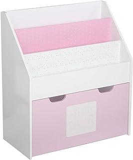 2 en 1 : Bibliothèque + Coffre de rangement en bois pour enfants - Coloris ROSE et BLANC.