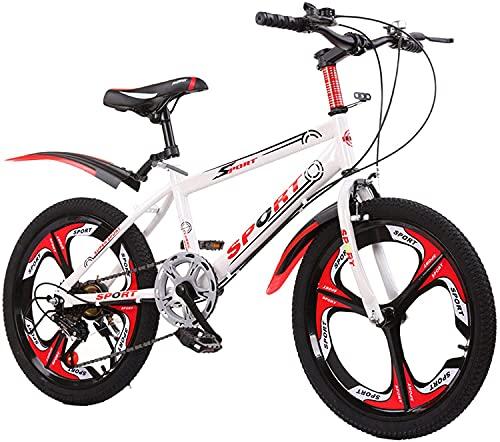 LHQ-HQ Bicicleta De Montaña para Niños Ruedas De 20 Pulgadas Bicicleta para Niños Ruedas De 6 Velocidades Y 3 Radios Bicks para Niños De Acero De Alto Carbono para Niños Y Niñas,Blanco