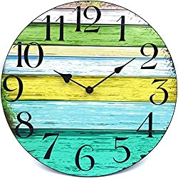 12 Silent Wall Clock Battery Operated Non-Ticking, Vintage Wood Wall Clocks Large Decorative for Kitchen Home Office Wall Decor, Frameless Retro Kitchen Wall Clock School Bathroom Living Room