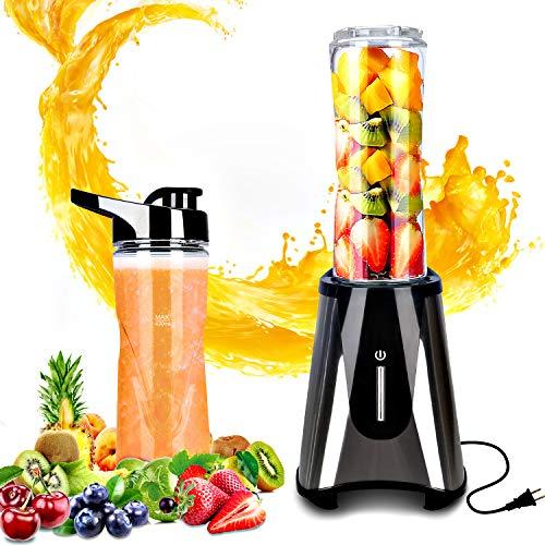 Mixer Smoothie Maker, Mini Standmixer, Multifunktion Elektrischer Entsafter, 300 Watt Shake Mixer mit 2 BPA-freie & spülmaschinenfeste Tritan Trinkflaschen + Deckel(600ml)