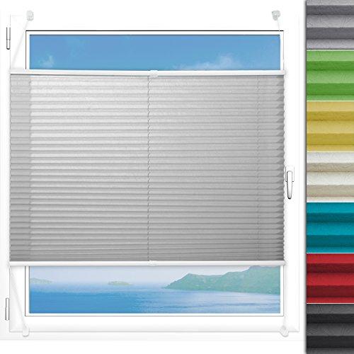 Plissee Rollo Magic | moderner Sichtschutz mit Crushed Optik | Fensterrollo mit Klemmfix ohne Bohren | Klemmrollo Größen (Helles Grau - 55 cm breit und 150 cm lang)