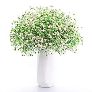 Silk Flower Arrangements FENDOUBA Artificial Flowers Babies Breath Flowers Fake Gypsophila Plants Bouquets for Wedding Home DIY Decoration (Color : White+Green)