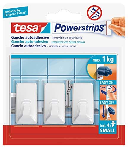 Tesa 57072 - Ganci di plastica per fissaggio semplice e design rettangolare Powerstrips, ideali per cucina e bagno, riutilizzabili, colore: bianco