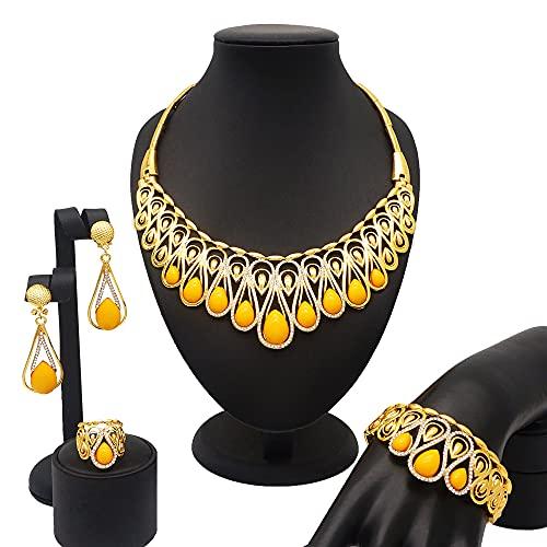 QXZ-WOLFBERRY Dubai Gold Jewelry Conjuntos, Regalos de Novia africanos de la Boda para Las Mujeres Arabar árabe de Color Rojo Azul Rhinestore Set de Rhinestore Joyería (Metal Color : BJ775 2)