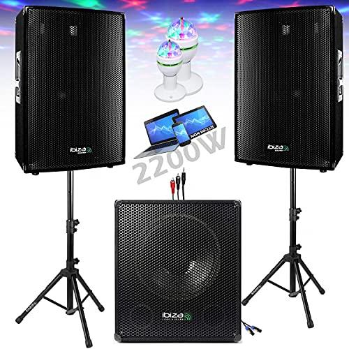 Pack sono dj 2200w cube 1512 avec caisson - encentes - pieds - cables - jeux de lumières led pa dj led light sound