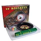 HARTI Set di Giochi di Roulette da 10 Pollici, Casino Roulette 60Pcs Fiches da Poker, Tovaglia, Leva di Chip Leggero, 6 Denominazioni di Chip per Bar Ktv Partito Borad Gioco Goccia Spedizione