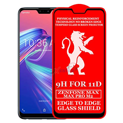 xester® 11d glass screen protector compatible with asus zenfone max pro m2(pack of 1) [ edge to edge tempered glass edge to edge full screen coverage with touch accurate, impact absorb, full adhesive glass ]