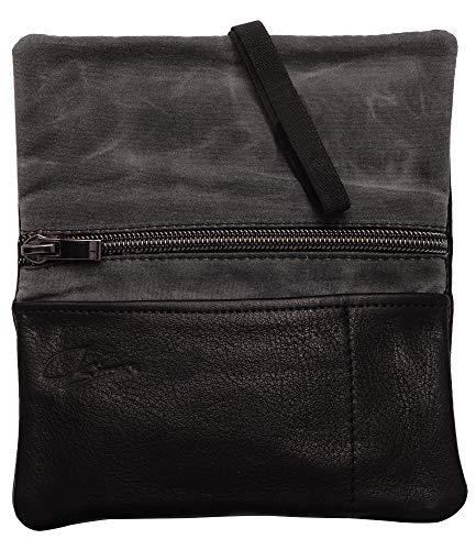 SIMARU Leder Tabaktasche aus pflanzlich gegerbtem Premium Leder, Tabakbeutel mit Filter- und Paperfach, Drehtabak Tasche 30g (schwarz)