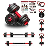 Adjustable Dumbbells Set for Man and Women, 20KG 6 in 1 Multifunctional Free Weights Dumbbells Kettlebell Barbell for Starter Bodybuilding Fitness Training Home Gym Exercise(with Workout Guide)