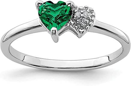 925 Sterling Silver Created Green Emerald Diamond Band Ring Size 7.00 Birthstone May Gemstone Fine Jewelry Gifts For Women For Her