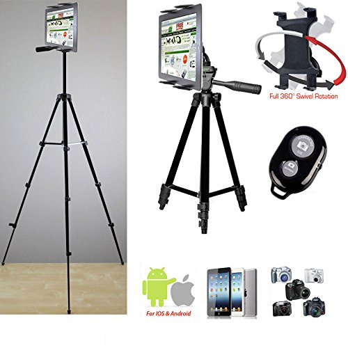 """ChargerCity Periscope Live Video Streaming Photo Booth 7-12"""" Tablet Stand w/Basics TRIPOD, 360° Vibration Free Joint mount Holder & Bluetooth Remote for Apple iPad Air Pro MINI Samsung Galaxy Tab"""